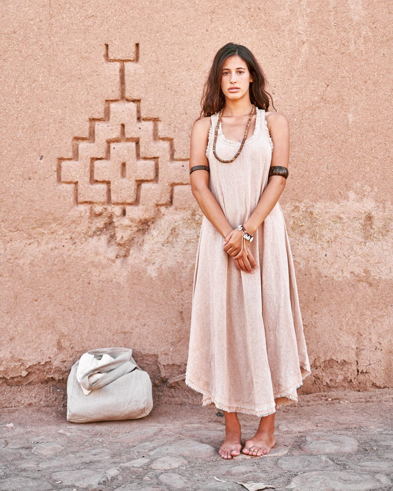 Cotton Frayed Long Dress - Handmade Eco-Friendly Dress