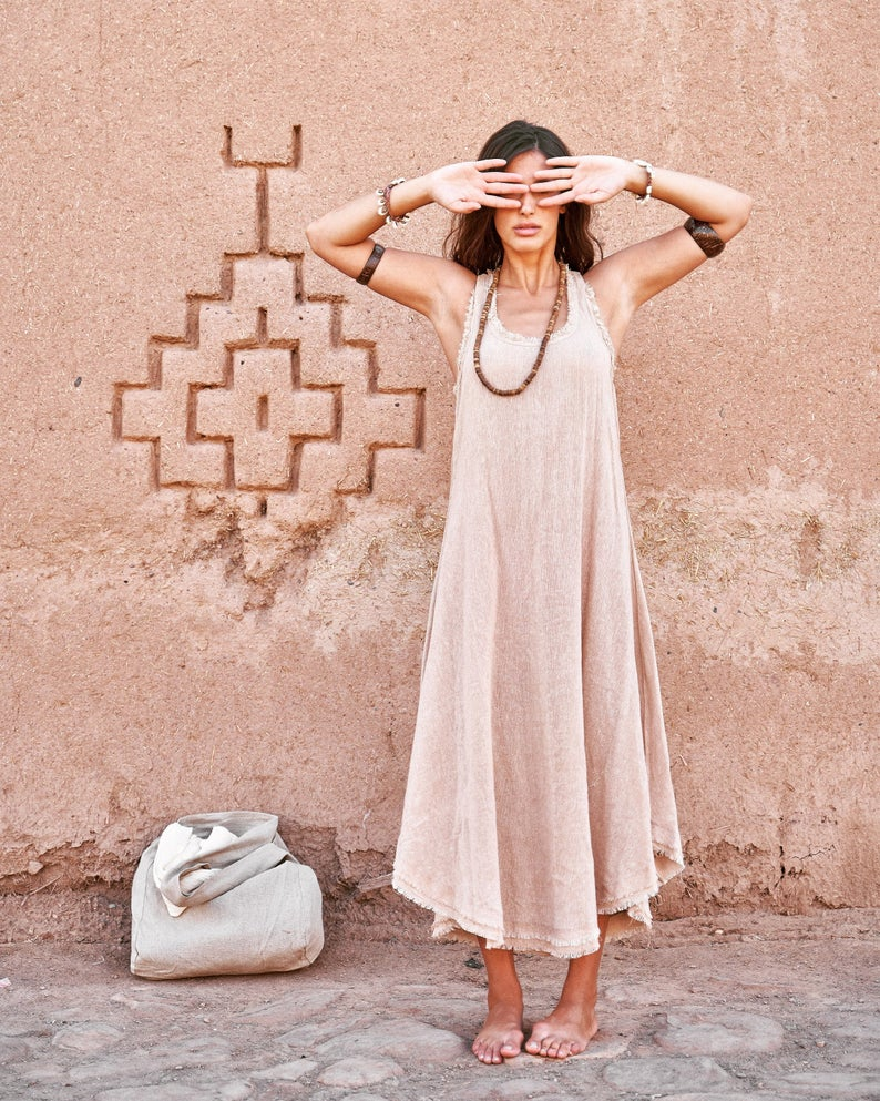 eco-friendly handmade slow fashion minimalist tribal dress