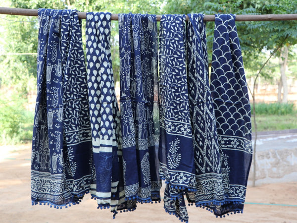 indian cotton indigo block print scarves