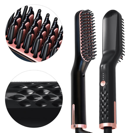Straightener Brush Hair Beard Straightener Electric Ionic Quick Heated Comb