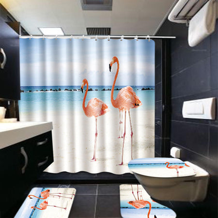180x150xm 4 Piece Bathroom Rug Toilet Cover Mat Shower Curtain Bath Mat Set
