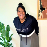 Merci Jesus Long Sleeve Cropped Top Sweatshirt