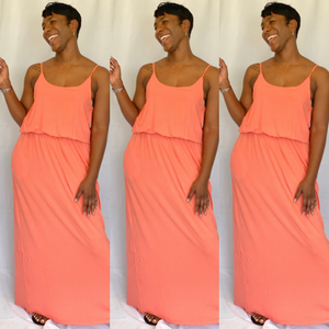Wildegal Maxi Dress- Deep Coral