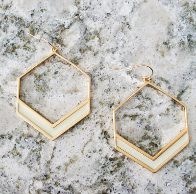 Hexagon Earring-Natural