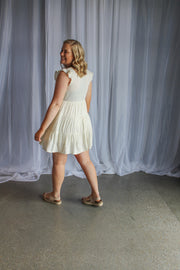 Tiered Button Dress-Ivory