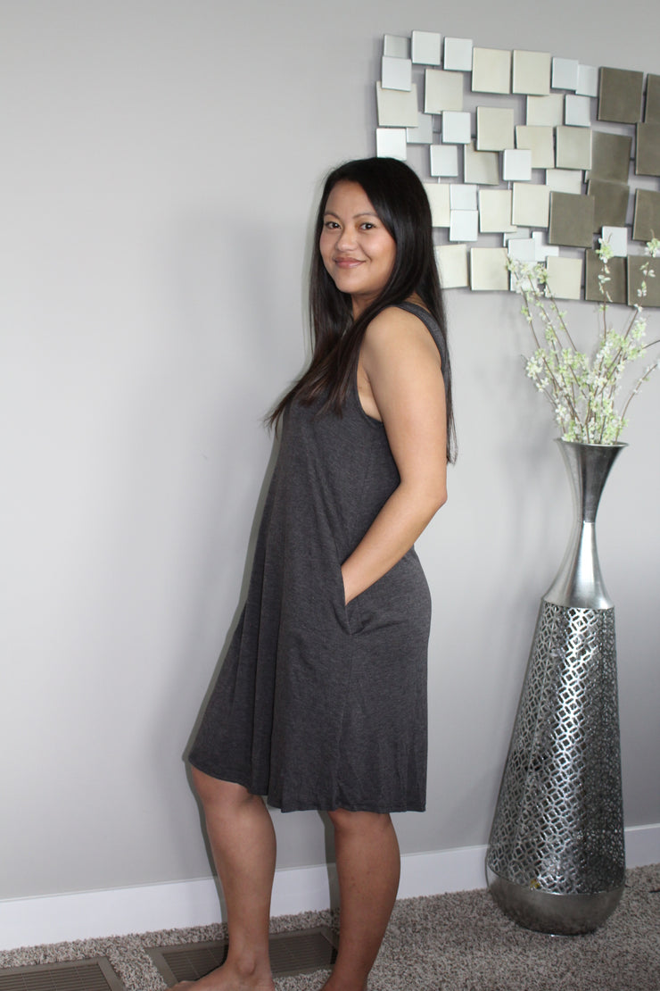 V-Neck Sleeveless Knit Dress Plus Size- Charcoal