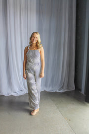 White-Black Striped Jumpsuit