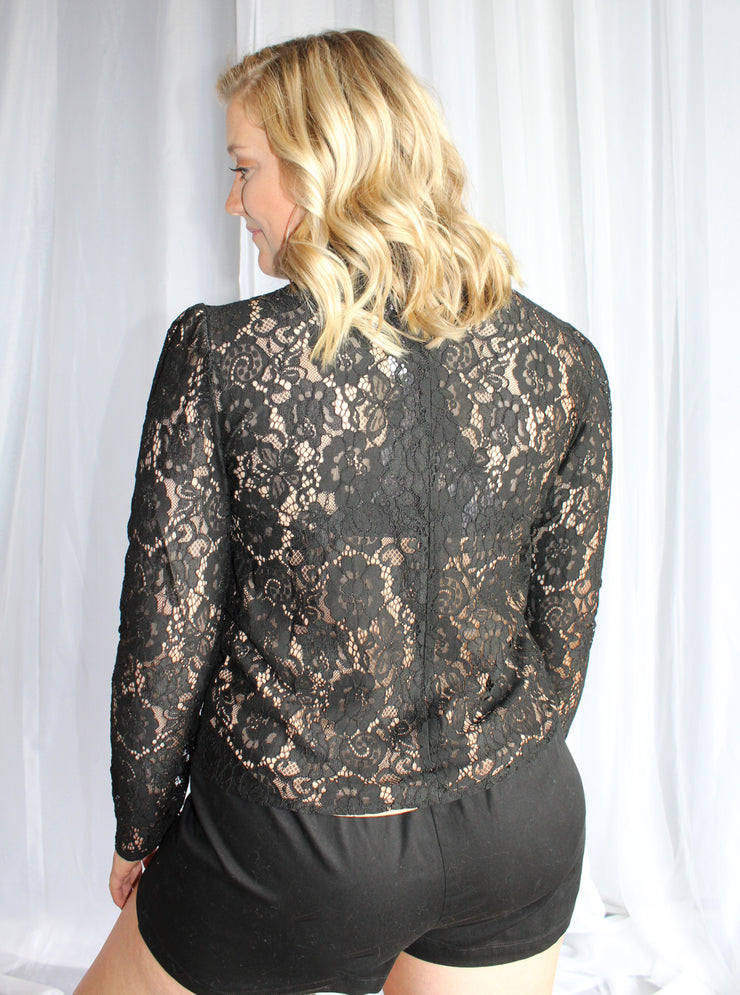 Long Sleeve Lace Puff-Black