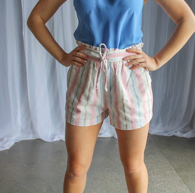 Off white-pink stripe shorts