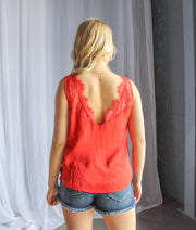 V-Neck Lace Trim Tank-Red