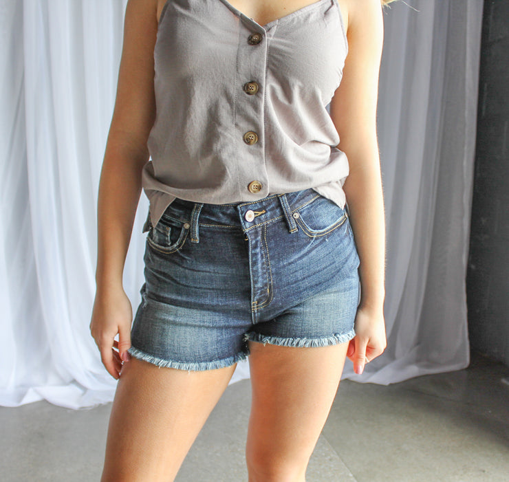 Button Down Tank-Grey