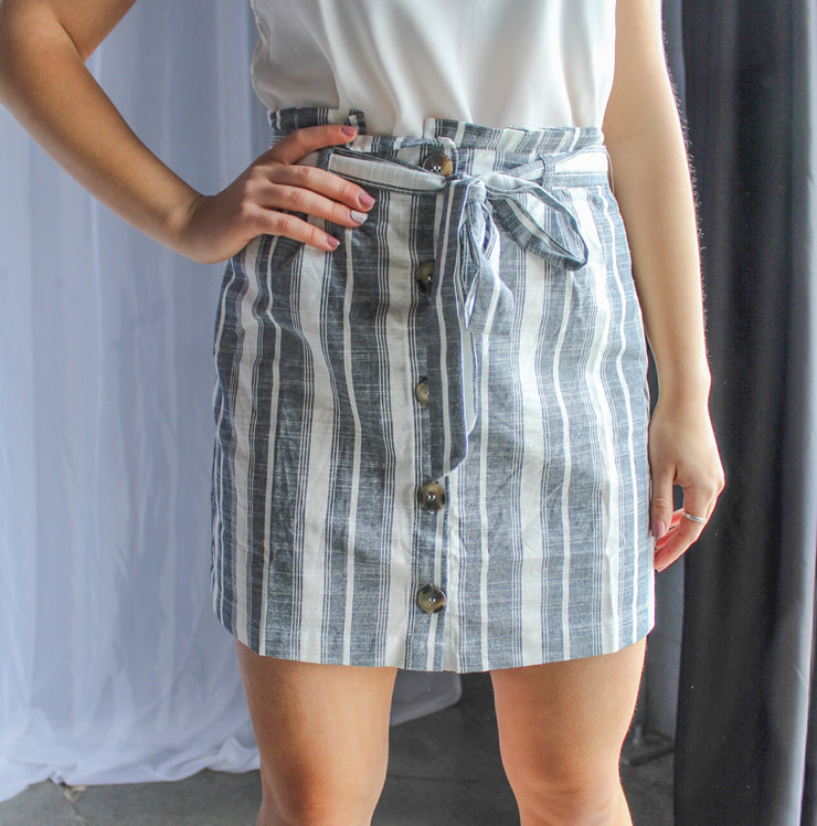 Stripe Button Down Skirt-Ivory/Navy