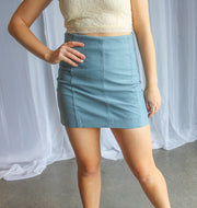 Suede Mini Skirt-Blue