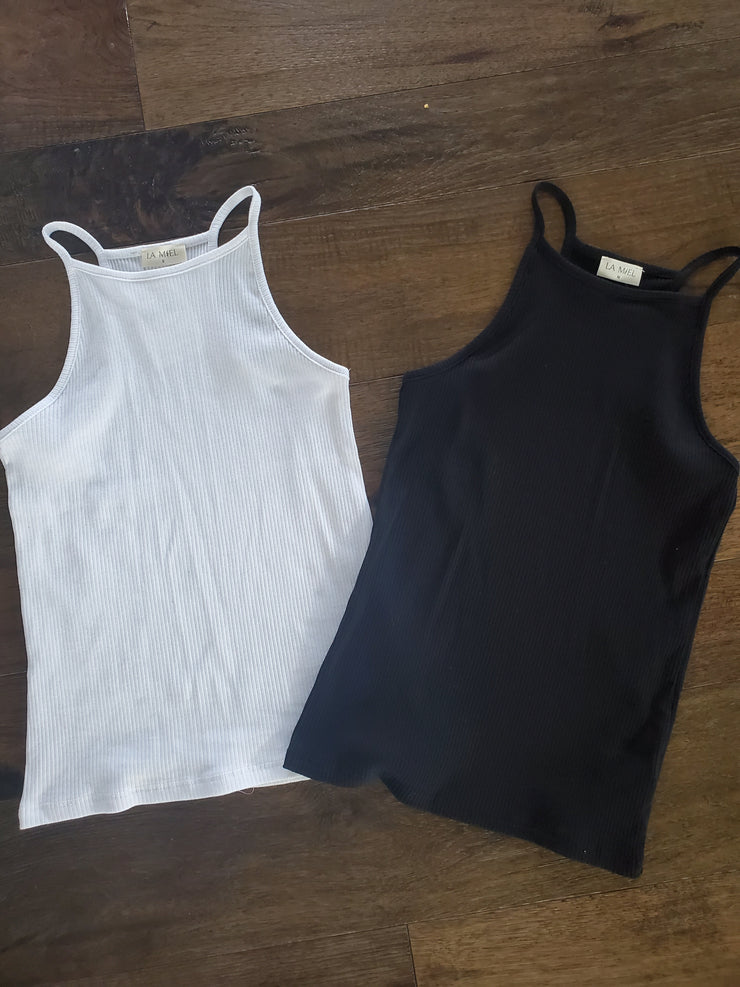 High-Neck Simple Tank - White