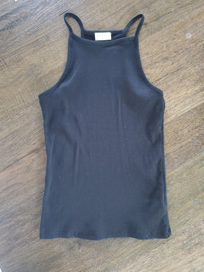 High-Neck Simple Tank - Black