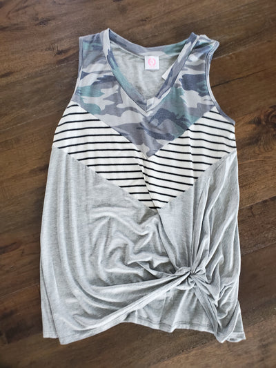 Camo Grey Stripe Sleeveless Top