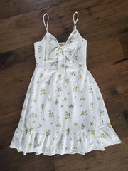 Ribbon - Tie Front Floral Dress