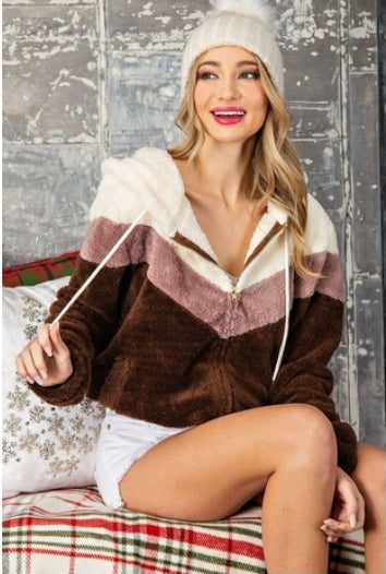 Sherpa Mauve/Brown Sweater