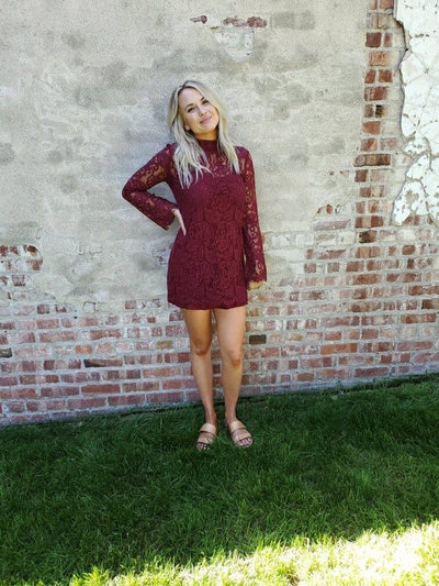 Long Sleeve Lace Burgundy Dress