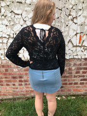 Black Lace Fitted Top with Tie Back