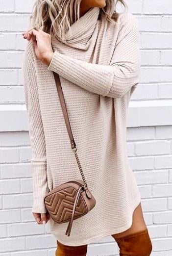 Long Sleeve Waffle Knit Dress - Latte
