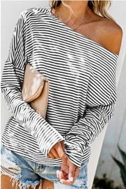 Off the Shoulder - White/Black Stripe Long Sleeve