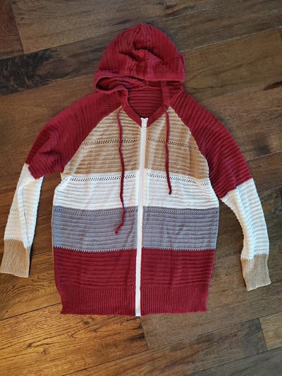 Wine Color Block Zip Up Hoodie