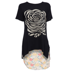 Stylish Scoop Collar Short Sleeve Floral Print Asymetrical Plus Size Women's T-Shirt - Find A Gift Fast