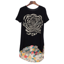 Load image into Gallery viewer, Stylish Scoop Collar Short Sleeve Floral Print Asymetrical Plus Size Women's T-Shirt - Find A Gift Fast