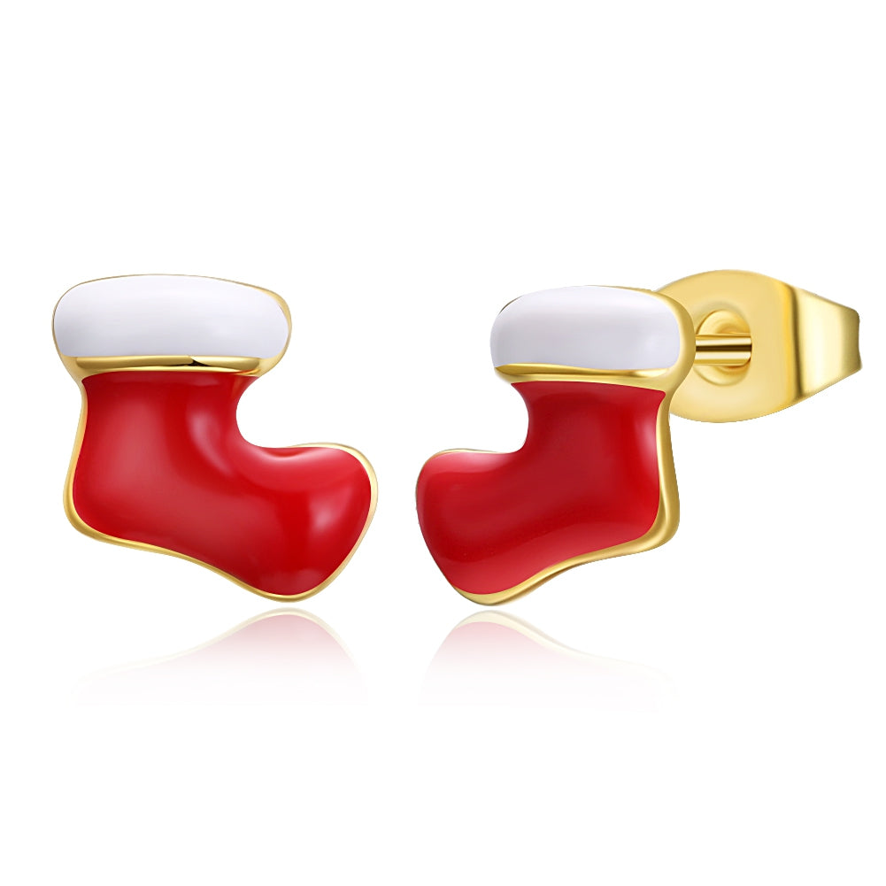Christmas Oil Dripping Christmas Socks Earrings Plated with Gold - Find A Gift Fast