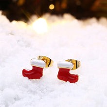 Load image into Gallery viewer, Christmas Oil Dripping Christmas Socks Earrings Plated with Gold - Find A Gift Fast