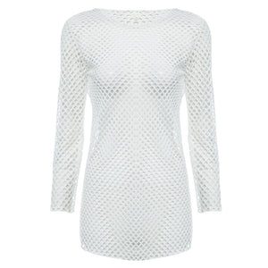 Sexy Round Collar Hollow Out See-Through Long Sleeve Solid Color Women Blouse - Find A Gift Fast