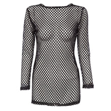 Load image into Gallery viewer, Sexy Round Collar Hollow Out See-Through Long Sleeve Solid Color Women Blouse - Find A Gift Fast
