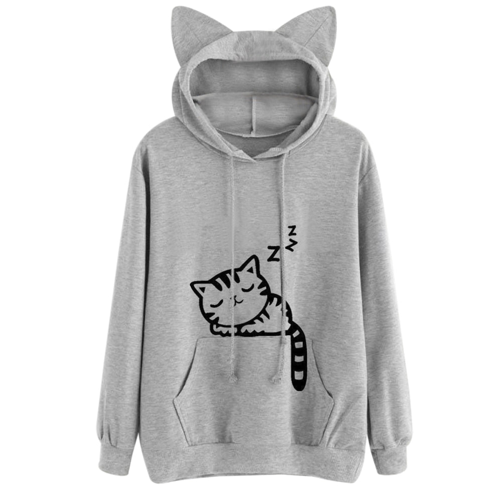 Drawstring Sleeping Cat Pattern Pullover Hoodie - Find A Gift Fast