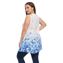 Load image into Gallery viewer, V Neck Sleeveless Print Plus Size Loose Chiffon Women Blouse - Find A Gift Fast