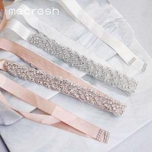 Mecresh Elegant Silver Rhinestones Wedding Belt Sash White Pink Ribbon Bridal Belt for Wedding Gown Wedding Accessories MYD022 - Find A Gift Fast