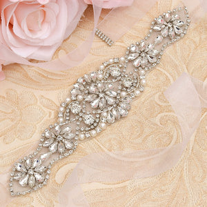 MissRDress Silver Rhinestones Bridal Belt Crystal Pearls Ribbons Wedding Belt Sash For Bridal Bridesmaids Dresses JK910 - Find A Gift Fast