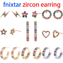 Load image into Gallery viewer, 2pcs CZ stud earring rainbow gold - Find A Gift Fast