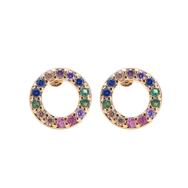 2pcs CZ stud earring rainbow gold - Find A Gift Fast