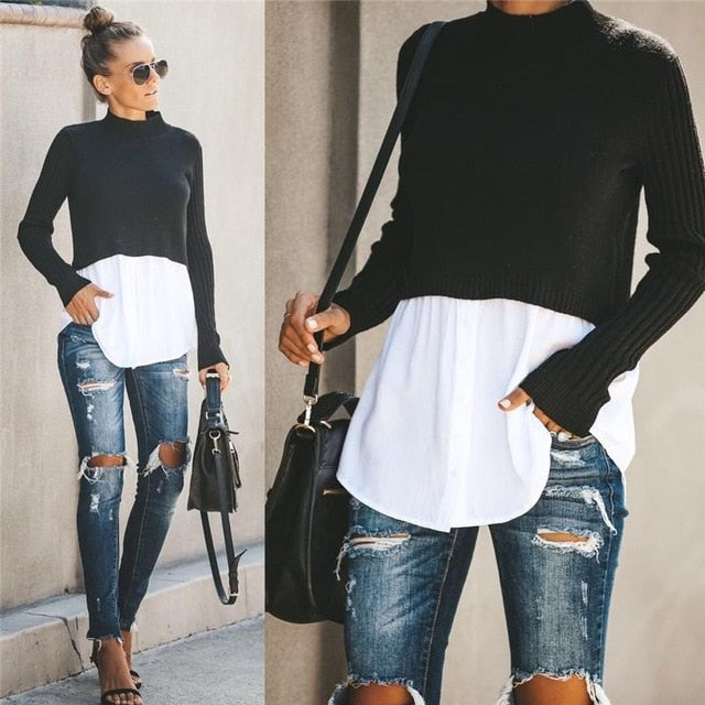 Autumn Winter Black Knit Sweater Women - Find A Gift Fast
