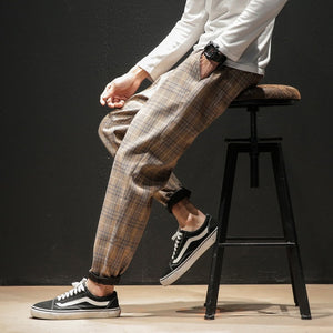 Japanese Streerwear Men Plaid Pants - Find A Gift Fast