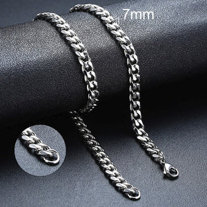 Vnox Basic Punk Stainless Steel Necklace for Men Women Curb Cuban Link Chain Chokers Vintage Silver Black Gold Tone Solid Metal - Find A Gift Fast
