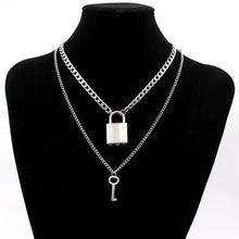 Load image into Gallery viewer, stainless steel Double layer key Lock necklace punk link chain padlock pendant necklace hiphop women men fashion gothic jewelry - Find A Gift Fast