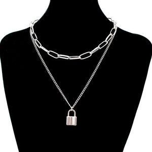 stainless steel Double layer key Lock necklace punk link chain padlock pendant necklace hiphop women men fashion gothic jewelry - Find A Gift Fast