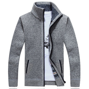 Winter Thick Men's Knitted Sweater Coat Off White Long Sleeve Cardigan Fleece Full Zip Male Causal Plus Size Clothing for Autumn - Find A Gift Fast
