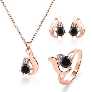 Vintage Obsidian Water Drop Femme Rings Necklace Earrings Set Simple Stone Irregular Metal Pendant Jewelry Accessories Gift - Find A Gift Fast