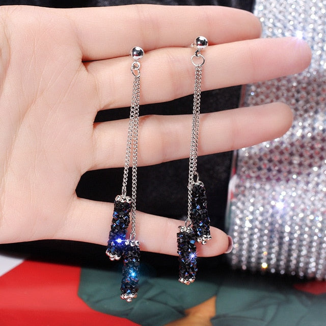 Korea high-end creative blue imitation rhinestone tassel earrings temperament long geometric earrings - Find A Gift Fast
