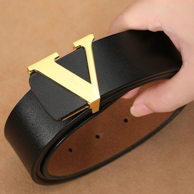 Men Retro Waist Strap Genuine Leather Alloy V Buckle Belt for Men Ceinture Femme High Quality Designer Famous Brand Luxury Belts