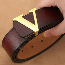 Load image into Gallery viewer, Men Retro Waist Strap Genuine Leather Alloy V Buckle Belt for Men Ceinture Femme High Quality Designer Famous Brand Luxury Belts