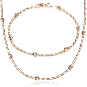 Thin 585 Rose Gold Jewelry Set for Women Marina Bead Link Chain Bracelet Necklace Set Woman Party Wedding Jewelry Gifts CS09 - Find A Gift Fast